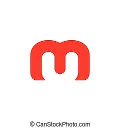 letter um negative space simple logo vector