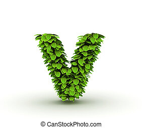 Letter v, alphabet of green leaves isolated on white background, lowercase