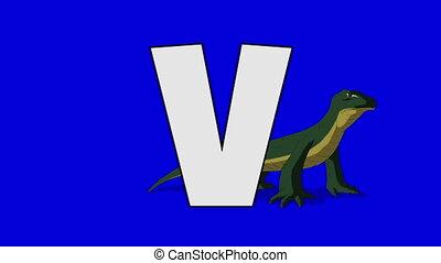 Letter V and Varanus (background) - Animated animal...