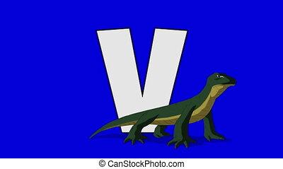 Letter V and Varanus (foreground) - Animated animal...