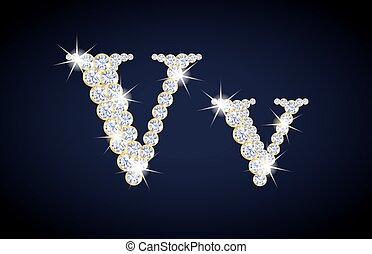 "Letter ""V"" composed from diamonds with golden frame. ..."