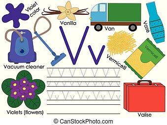 Letter V. English alphabet. Writing practice for children. Education. Vector illustration.