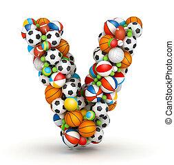 Letter V, gaming balls alphabet - Letter V, stacked from...