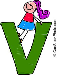 letter V girl - little girl standing on letter V
