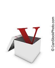 letter v in box