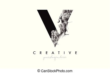 Letter V Logo Design Icon with Artistic Grunge Texture In Black and White