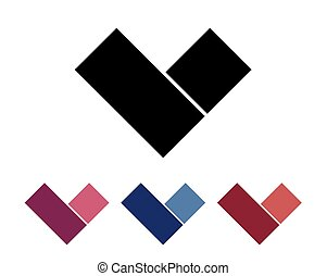 Letter V logo set. Design element. Isolated on white