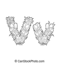 Letter V made of flowers - Letter V made of peonies and...