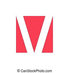 letter v negative space logo vector
