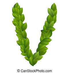Letter V of green leaves alphabet