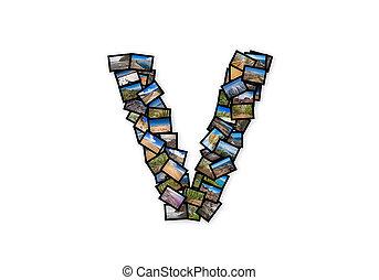 Letter V uppercase font shape alphabet collage made of my...
