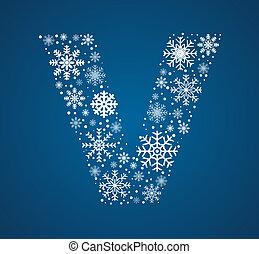 Letter V, vector font frosty snowflakes
