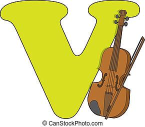 Letter V with a Violin