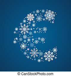 Letter , vector font frosty snowflakes