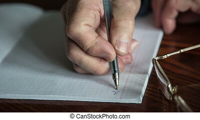 Letter - An elderly woman writes a letter to his relatives