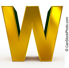 letter W 3d golden isolated on white