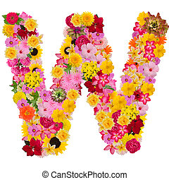 Letter W alphabet with flower ABC concept type as logo ...