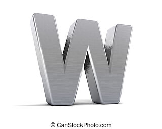 Letter W as a brushed metal 3D object