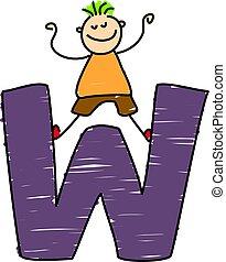 little boy standing on letter W
