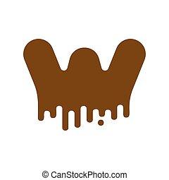 Letter W Chocolate font. sweetness alphabet. Liquid lettering. Sweet viscous ABC sign