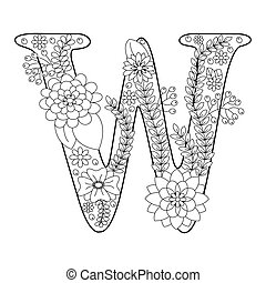 Letter w for coloring. vector decorative zentangle object. Hand ...