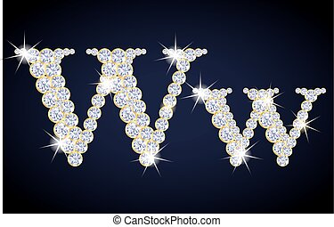 "Letter ""W"" composed from diamonds with golden frame...."