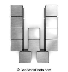 letter W cubic metal