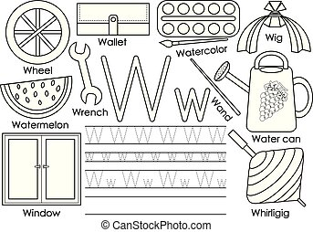 Letter W. Education for children. Learning English alphabet with writing practice. Coloring book. Vector illustration.