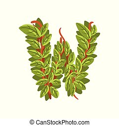 Letter W, English alphabet made of tree branches, ecology element for banner, card, label, presentation or poster vector Illustration