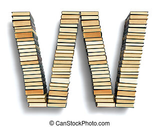 Letter W formed from the page ends of books - Letter W...