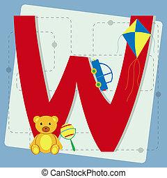 "Letter ""w"" from stylized alphabet"