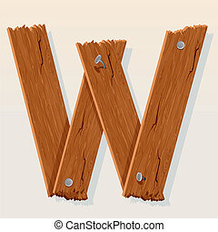 Letter W From vector Wooden Alphabet