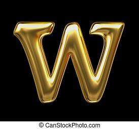 LETTER W in golden metal