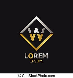 Letter W logo template badge with golden and silver elements. Vector illustration