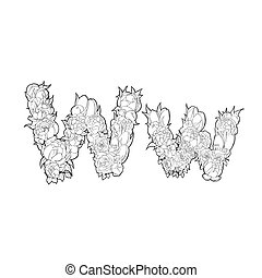 Letter W made of flowers - Letter W made of peonies and...