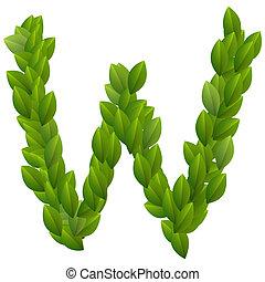 Letter W of green leaves alphabet
