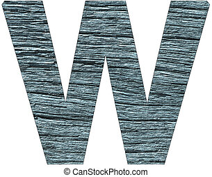 Letter W of the alphabet, with wood texture in blue color