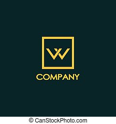 Letter W or VV or VW Logo Design Template, Orange, Gold, Brown, Dark Green Background, Box, Rectangle, Square Logo Concept, Simple and Clean, Strong & Bold