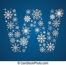 Letter W, vector font frosty snowflakes