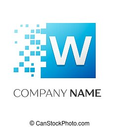 Letter W vector logo symbol in the colorful square with...