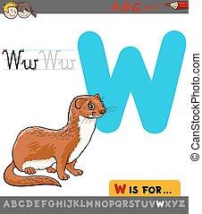 letter w with cartoon weasel - Educational Cartoon...