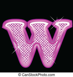 Letter W with pink bling pattern
