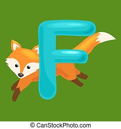 letter with animal for kids abc education in preschool.