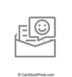 Letter with happy face line icon. Client satisfaction, happy customer, feedback symbol