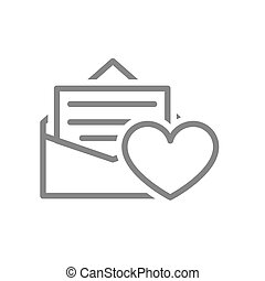 Letter with heart line icon. Customer feedback, user approvement, online message symbol