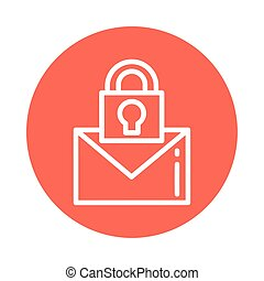 letter with padlock, block and flat style icon
