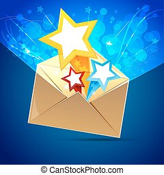 letter with stars - illustration of letter with stars