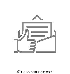 Letter with thumb up line icon. Customer feedback, email review, online message symbol