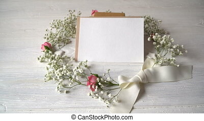 Letter with wreath of flowers greeting card for St....