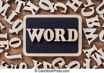 Letter Word on wooden background